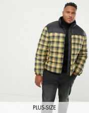 NEW New Look Plus Checked Puffer Jacket, Yellow/Black, Size 3XL, RRP £50