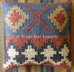 Hand Woven Kilim Cushion Cover 18X18 Jute Throw Pillow Sham Indian Pillow Case