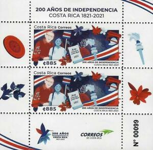 COSTA RICA 200 AÑOS DE INDEPENDENCIA, 200 YEARS OF INDEPENDENCE MNH 2021