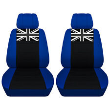 Fits 2005 to 2015 Mini Cooper Dark Blue and Black Seat Covers with a Union Jack