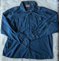 Wrangler Men's Size 2XL Button Down Long Sleeve Denim Shirt