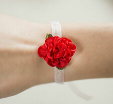 Wedding wrist corsage flower rose organza bracelet bridesmaid flower girl baby