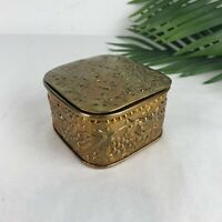 Handmade Brass Small Hinged Tooled Trinket Box Square