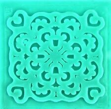 Lace Design with Heart Corners Impression Green Silicone Mold