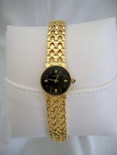 Seiko Slim Round Black Face Bracelet Watch Gold Scales #1N00-0EF8 HR Excellent