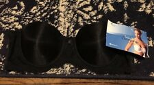 Bestform Bra 6503 Underwire Black Nylon Spandex Strapless 36B NEW Invisibra