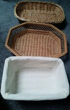 Selection Of Three Small Baskets Wicker Woven Oval