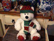 "Hugfun International Plush White Christmas Bear With Hat Scarf 18"""