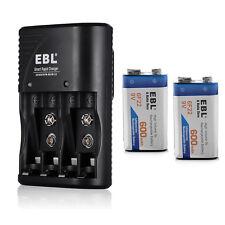 2x 600mAh 9V Li-ion Batteries +  Charger for 9 volt Ni-Mh Ni-CD AA AAA Battery