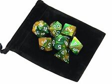 New Chessex Polyhedral Dice Set with Bag Gold Green Gemini 7 Piece Set DnD RPG
