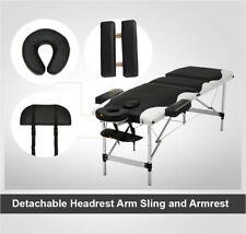 Portable 3 Fold Massage Table Aluminium Facial SPA Bed W/Carry Case Black&White