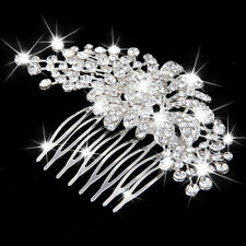 Wedding Party Bride Flower Crystal Rhinestone Hair Comb Hairpin Clip Slides