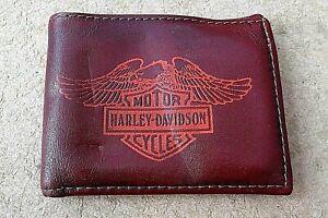 HARLEY-DAVIDSON GENUINE LEATHER WALLET Orange eagle on  brown. Made in USA