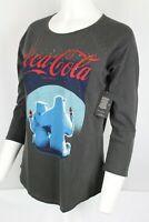 Lucky Brand Women's Coca Cola Polar Bears Raglan Tee Black 7WDG1099