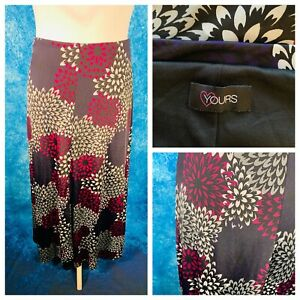 Ladies Purple Mix Skirt Size 30/32 YOURS Stretchy Elasticated Smart Plus Lined