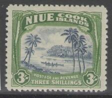 NIUE SG97 1945 3/= BLUE & YELLOWISH GREEN MTD MINT