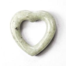Green Heart Carved Spotted Jade Pendant Slider 26mm 6mm Thick