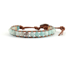 Blue Amazonite Gemstone Brown Genuine Leather Single Wrap Beaded Boho Bracelet