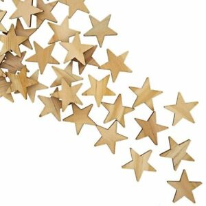 100-Pack Unfinished Wood Star Cutout Pieces for DIY Crafts, 1 Inch
