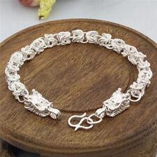 Fashion Silver Plated Dragon Design Bracelet Bangle Chain Men Bracelet Gift LF
