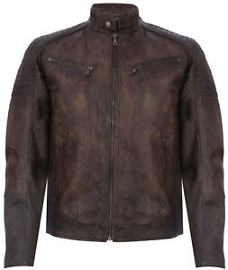 Men's Vintage Brown Retro Casual Leather Racer Biker Jacket
