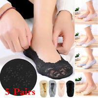 1/5Pairs Women Ladies Skin Shoe Liners Footsies Invisible Thin Lace Socks Sheer