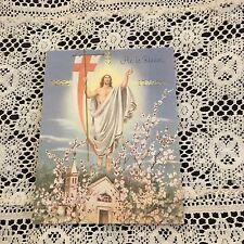 Vintage Greeting Card Easter He Is Risen Christ Flag Flowers