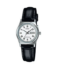 Casio Women's Black Leather Strap Watch, White Dial, Day/Date, LTP-V006L-7B