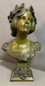 Antique FRENCH Enid BRONZED Spelter LADY BUST Sculpture OLD CABINET Desk STATUE