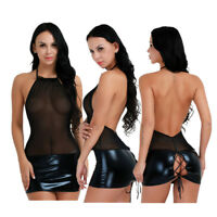 Sexy Women's Mesh Wet-Look Party Mini Pencil Dress Clubwear Leather Backless