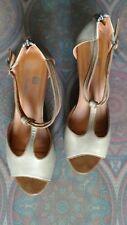 Sandali pelle beige fibbia 41 usate tacco alto 11cm zeppa  Renato balestra