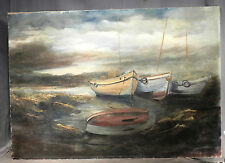 Vintage Mid-Century Modern Oil Painting Beached Boats Stormy Sky COLOR Seascape