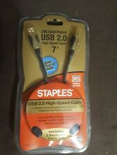 24K Gold plated USB 2.0 High-Speed Cable 7ft BNIP-Staples Type A to Type B