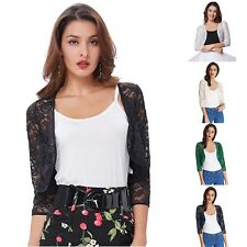 Ladies Floral Lace 3/4 Short Sleeve Bolero Shrug Womens Plus size Cardigan Top