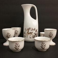 Vintage Bareware 7 Piece Sake Cup Set 1977 Ceramic Deer Floral Gold