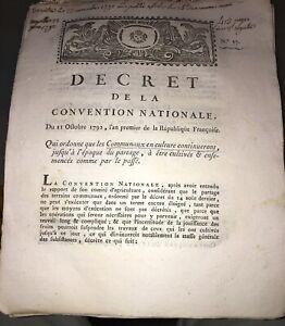 RÉVOLUTION.DOCUMENT SUR LES CHAMPS COMMUNAUX EN CULTURE (1792).