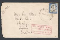 1954 Crash Mail cover displaying NZ New Zealand QEII stamp Salvaged Mail Cachet