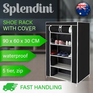 5 Tier Shoe Rack Stackable Cabinet Storage Organiser Portable Wardrobe W/ Cover