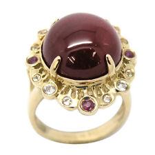 De Buman 29.60ctw Ruby wirh White Topaz Solid 10K Yellow Gold Ring, Size 7.25