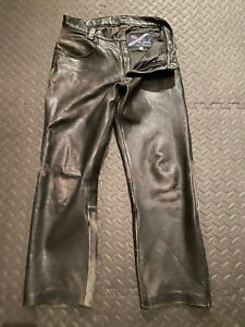Vintage Men's Leather Jean Motorcycle Pants Full Side Zippers 33 x 30 Langlitz