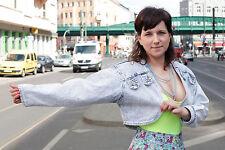 Damen Jeans Jacke jacket 80er True VINTAGE 80´s women bauchfrei Schulterpolster