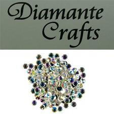 6mm Clear Iridescent AB Diamante Loose Round Flat Back Rhinestone Craft