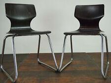 70er Vintage Flötotto Schreibtisch Stuhl Pagholz Pagwood Stapelstuhl Metall 1/6