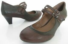 M&S FOOTGLOVE SIZE 5.5 WOMENS BROWN MARY JANES COURT SHOES ANKLE STRAPS HEELS