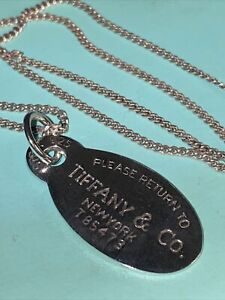 "Genuine Vintage Tiffany & CO Pendant On A  20"" necklace sterling silver"