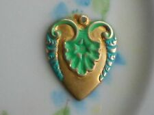 Vintage Patina Charm Brass Heart Connector enamel Flower Gilted #1344N