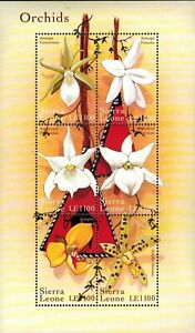 MODERN GEMS - Sierra Leone - Orchids II - Sheet of 6 Stamps - MNH
