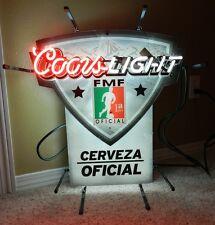 "2011 ""Coors Light"" Neon Light wall Sign CERVEZA Oficial La Unica FMF 22"" X 22"""