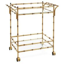 Gold Iron Bamboo & Glass Bar Tea Cart Table French Chinoiserie Hollywood Regency