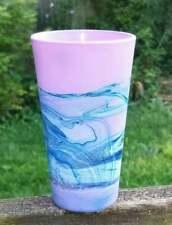 Small Purple Blue Vase/Hand Painted Purple Glass Vase